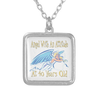 40th Birthday Angel With An Attitude Silver Plated Necklace