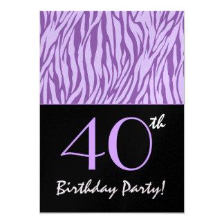 40th Birthday Animal Print Personalized Template 13 Cm X 18 Cm Invitation Card