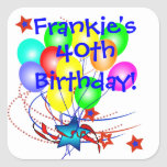 40th Birthday Any Age & Name Fun Birthday Stickers