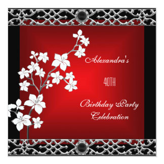 "40th Birthday Asian Red Black Floral Silver White 5.25"" Square Invitation Card"