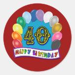 40th Birthday Balloons Design Round Stickers