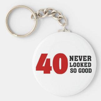 40th Birthday Basic Round Button Key Ring