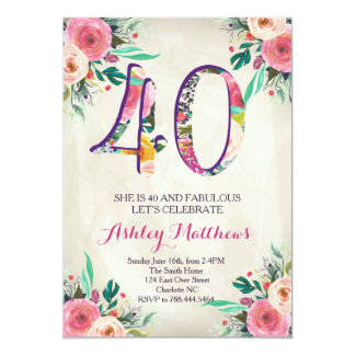 40th birthday Beautiful Floral Invitation, Card