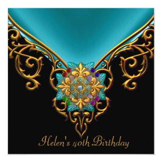 40th Birthday Black Teal Blue gold jewel 13 Cm X 13 Cm Square Invitation Card