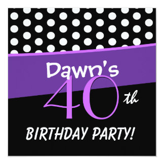 40th Birthday Black White Purple Polka Dots W316 Personalized Announcement