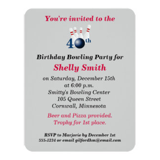 40th Birthday Bowling Party Invitation