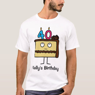 40th Birthday Cake with Candles T-Shirt