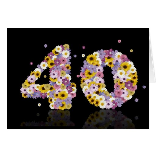 40th birthday card with flowery letters