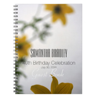 40th Birthday Celebration Floral Guest Book Note Book