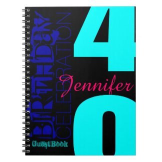 40th Birthday Celebration POP Custom guest Book Spiral Note Book