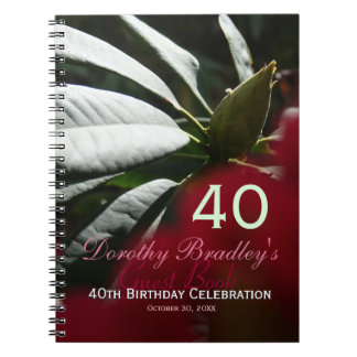 40th Birthday Celebration Rhododendron Guest Book Note Books