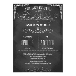"40th Birthday Chalkboard Typography Party Invite 4.5"" X 6.25"" Invitation Card"