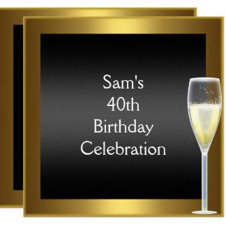 40th Birthday Champagne Gold Black Card