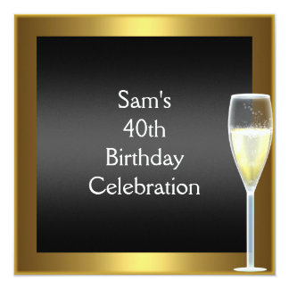 40th Birthday Champagne Gold Black Card