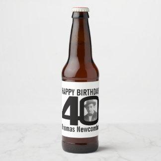 40th Birthday custom photo name label