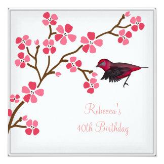 40th Birthday Elegant Asian Pink Flowers Bird 2 13 Cm X 13 Cm Square Invitation Card