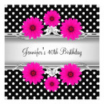 40th Birthday Elegant Black White spot Pink floral Invitations
