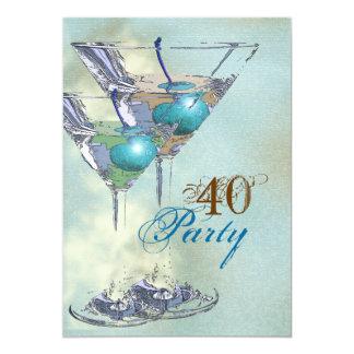 40th birthday elegant blue brown 13 cm x 18 cm invitation card