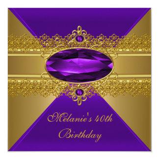 40th Birthday Elegant Lace Purple Gold Card