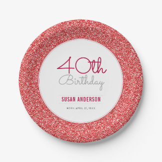 40th Birthday Faux Red Glitter Paper Plate