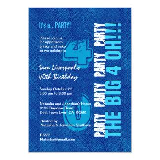 40th Birthday For Him Royal Blue and Aqua W1502 13 Cm X 18 Cm Invitation Card