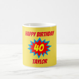 40th Birthday Fun Superhero Theme Coffee Mug