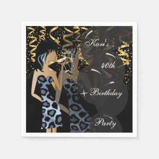 40th Birthday Girl Party Bash | Template | DIY Disposable Napkins