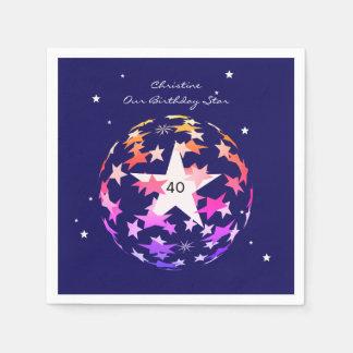 40th Birthday Globe of Stars Disposable Napkin