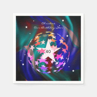 40th Birthday Globe of Stars Disposable Napkins