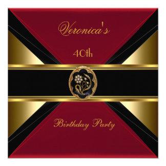 40th Birthday Gold Black Velvet Red Floral Jewel Invite
