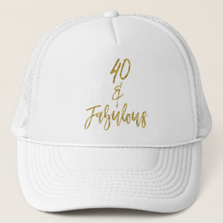 40th Birthday Gold Foil and White Trucker Hat