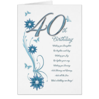 40th birthday in teal with flowers and butterfly greeting card