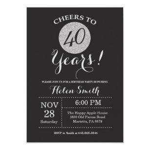 40th birthday invitations zazzle 40th birthday invitation black and silver glitter filmwisefo