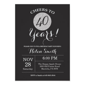 40th Birthday Invitation Black and Silver Glitter