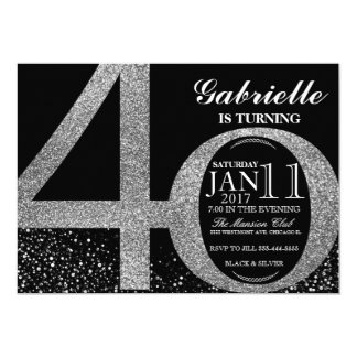 40th Birthday invitation, Black and silver glitter Card