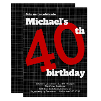 40th Birthday Invitation Black with Red Accent,