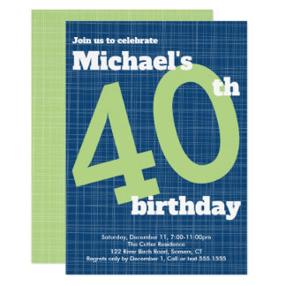 40th Birthday Invitation Blue with Green Accent,