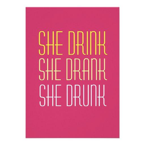 40th Birthday Invitation -Drink Drank Drunk