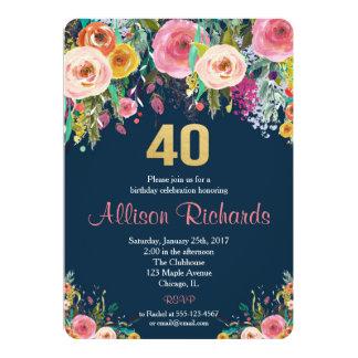40th birthday invitation floral watercolor navy