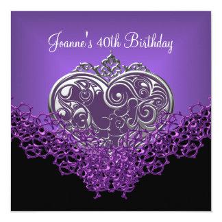 40th Birthday Lace Black Silver Deep Purple Heart 13 Cm X 13 Cm Square Invitation Card