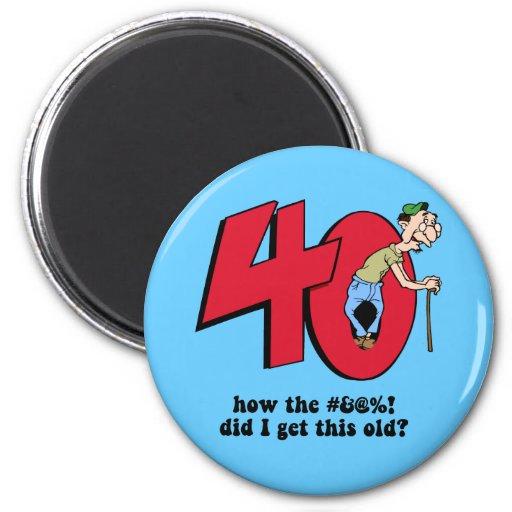 40th birthday fridge magnets