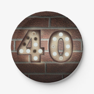 40th birthday marquee sign on brick wall paper plate