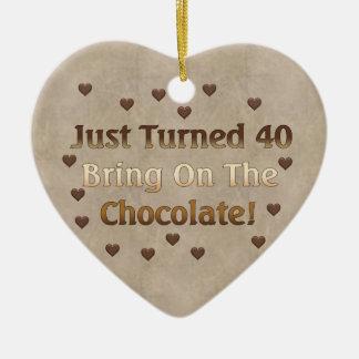 40th Birthday Means Chocolate Ceramic Ornament