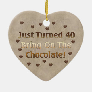 40th Birthday Means Chocolate Ceramic Heart Decoration