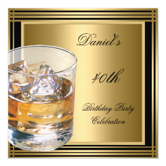 40th Birthday Mens Black Gold Cold Drinks Mans 13 Cm X 13 Cm Square Invitation Card