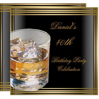 40th Birthday Mens Black Gold Cold Drinks Mans Card