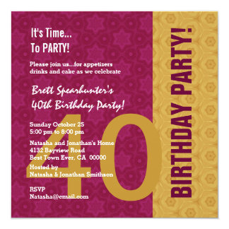 40th Birthday Modern Gold and Maroon Funny D848H1 13 Cm X 13 Cm Square Invitation Card