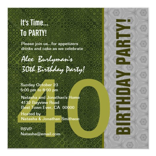 40th Birthday Modern Green and Silver S302 Card
