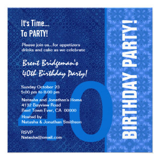 40th Birthday Modern Hues of Blue B40` Invitations
