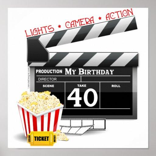 40th Birthday Movie Birthday Party Posters